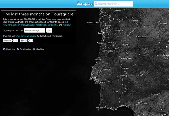 foursquare mapa chek-in portugal