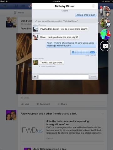 Facebook ícones de chat