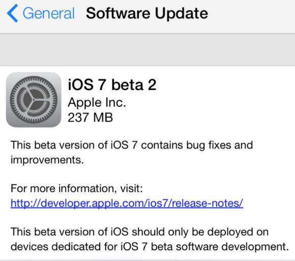 iOS 7 beta 2.
