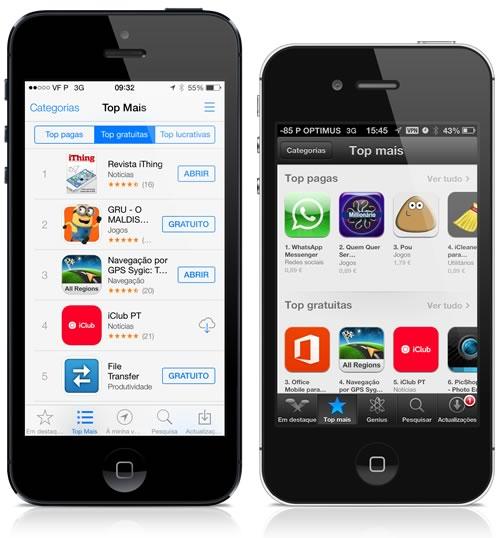 A App Store no iOS 7 e no iOS 6
