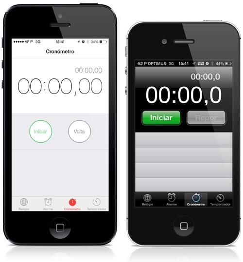 Cronómetro no iOS 7 e no iOS 6