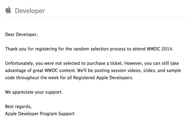 Email WWDC Não Selecionado