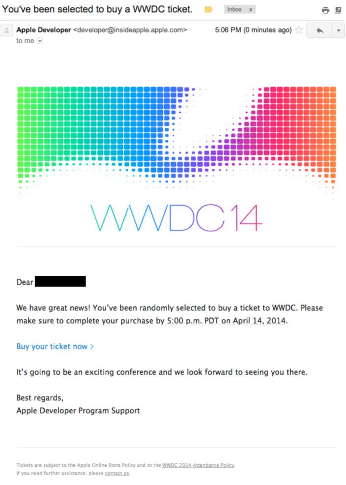 Email WWDC Selecionado