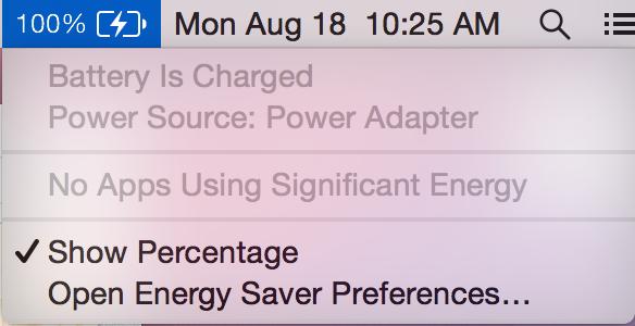 Novo ícone que indica que o Mac está ligado a corrente