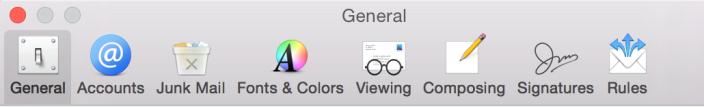 Ícones na barra de preferências do Mail também foram redesenhados