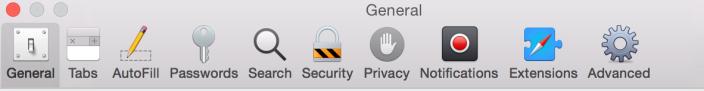Ícones na barra de preferências do Safari também foram redesenhados