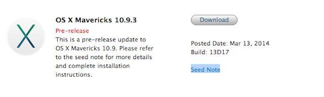 O segundo beta da versão 10.9.3 já disponível