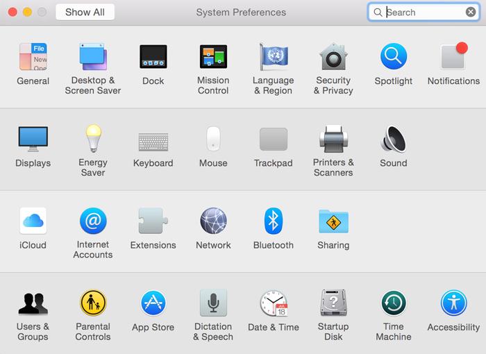 Alguns ícones nas Preferências de Sistema foram redesenhados